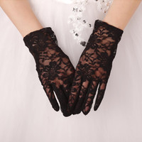 Wholesale White Bridal Gloves Simple Wrist - Hot Sale 2017 Real Photos Simple Bridal Gloves Opera Party Gloves Wrist Length Full Finger Lace New Style Bridal Accessories Real Image In