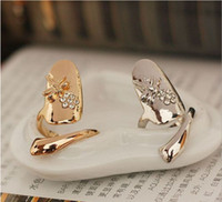 Wholesale white nail designs rhinestones online - Exquisite Cute Retro Queen Dragonfly Design Rhinestone Plum Snake Gold Silver Ring Finger Nail Rings
