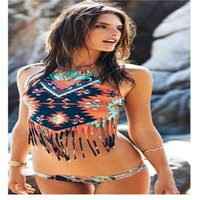 Polyester painted chest - Printing Painted Tassel Floral Halter Tight High elasticity With Chest Pad Without Steel Care Split Bikini