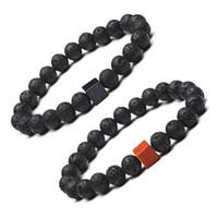 Wholesale Trendy Golden Chain - Trendy Square Golden Sand Natural Black Lava Stone Beads Elastic Bracelets In Bangles For Women Men Volcanic Rock Beaded Hand Strings