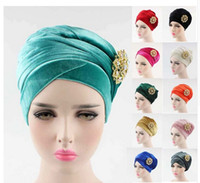 NOUVEAU Luxe à long velours Turban velour hijab Head Wrap Extra Long tube tête Écharpe Cravate avec la broche bijoux