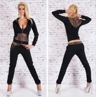Wholesale Footballs Leopard - Women Outdoor Suits Spring & Autumn Sportswear Leopard Print Women's Wear Cotton Spandex Long Sleeve Black Fit ouc1071