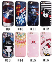 Wholesale Iphone 3d Cases Iron Man - For iPhone 7 Soft TPU Silicone Case 3D Effect Captain Iron Man Lion Mandala Pikachu Hello Kitty Case for iPhone 6s 7 plus