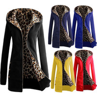Wholesale Woman Leopard Fleece Jackets - Wholesale- 2016 New Autumn Women Fashion Hoodies Sweatshirts Fleece Leopard Coat Zip Up Outerwear Hooded Sweatshirts Long Jacket Plus Size