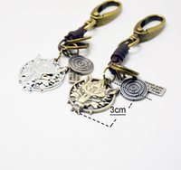 Wholesale Wholesale Keychain Rings Clips - Classic Key Chain Ring Metal Swivel Wolf Head Ornaments Clasp Clips Key Hooks Keychain Split Ring DIY Bag Jewelry Wholeales