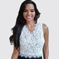 blusas camisola feminina sexy venda por atacado-Verão Branco Preto Laço de Colheita Top U-pescoço Sem Mangas Curtas Blusas Tees Sexy Mulheres Clubwear Top DZF0608
