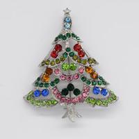 Wholesale Wholesale Rhinestone Christmas Brooches - 12pcs lot Wholesale Fashion Christmas Brooches Crystal Rhinestone Christmas tree Pin Brooch Christmas gifts C666