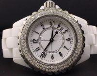 Wholesale Excellent Ladies Watches - Excellent High Quality Diamond White Ceramic 33mm Ladies White Dial Diamond Bezel Quartz Watch Date Womens Fashion Wrist Watches