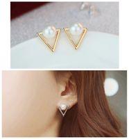 Wholesale Triangle Clip Earrings - ER035 Hot fashion earrings jewelry personality triangle Imitation pearls stud earrings for women jewelry Bijoux