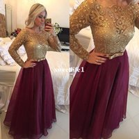 Wholesale vintage boat lights - Long Sleeve Burgundy Mermaid Prom Dresses 2017 Organza Lace Beaded Boat Neck Zipper-Up Floor Length Formal Evening Dresses