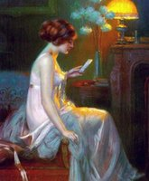 Wholesale Young Girl Oil Paint - Free Shipping ,Lots Wholesale ,Wonderful Oil painting beautiful young girl reading letter under the night lamp, Any customized size accepted