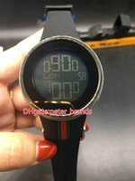 Wholesale custom digital watch - AAA Luxury 44mm YA114207 Black Mens Custom Digital Custom Luminescent Electronic Rubber Strap Watch Diamond Watch