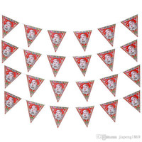 Wholesale Hanging Flag Pennant - 8 pcs sets Santa Claus paper Banner Flag hang Pennants Arranged Christmas Party Banner Decorations Supplies flag Free shipping