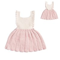 Wholesale Skirt Retro Style - Baby Girls retro knitting dress Infants croched Overalls Dresses INS HOT knitted buttoned pinafore skirt for 0-2T