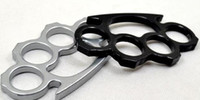 Wholesale Wholesale Duster - 2PCS Silver and Black Thin Steel Brass knuckle dusters