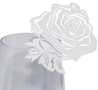 isim kartı düğün toptan satış-Gül Lazer Kesim Etiketi Yeri Kart Inci Kağıt Şarap Cam Bardak Adı Yeri Kart Düğün Masa Dekorasyon Parti Malzemeleri