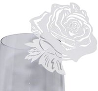 Rose Laser Cut Tag Place Card Pearl Paper Wine Glass Cup Nombre Place Card Wedding Table Decoration Party Supplies