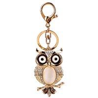 Wholesale Diamond Key Chain Crystal - 2017cute owl imitation diamond gold key chains alloy weave bell penden bohemia Creative bag pendant creative key chain for women jewelry