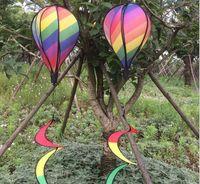 schwanzspinner groihandel-DHL sf_express Gestreifter Drachen Regenbogen Windsack Heißluftballon Wind Spinner mit Schwänzen Für Outdoor Garten Dekor Kinder Spielzeug