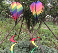 Wholesale Hot Air Balloons Toys - DHL & sf_express Striped Kite Rainbow Windsock Hot Air Balloon Wind Spinner with Tails For Outdoor Garden Decor Kids Toy