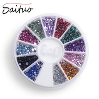 Wholesale Steel Beads Nail - Wholesale- Nail Art Tips Crystal Glitter Rhinestone 3D Nail Art Decoration 12 Color Steels Beads Studs For Nails Design Wheel