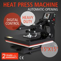 Wholesale Printer Press - 15x15 Inch Auto Open Heat Press Multifunctional Spring Balancer Digital Heat Press Transfer Machine 38x38cm Digital LCD Timer for T Shirts