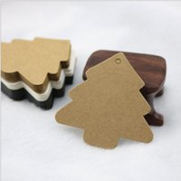Wholesale Paper Deco - 5.5*5.5cm DIY Kraft Christmas Tree Shape Hang tag Christmas Party Deco Paper Cards Gift tag
