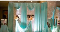 Wholesale Pearl Curtains - Width150cm Festive & party supplies Tiffany blue silk wedding veil ice pearl cloth curtain fabric decoration stage background