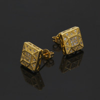 Wholesale material hips - New Men AAA CZ Rhinestone Crystal Stud Earrings Copper Material Gold Color Square Earrings Women Fashion Hip Hop Jewelry