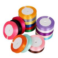 saten kurdele 25 toptan satış-Sıcak 18 Renkler 15mm DIY Bow Craft Dekor için Saten Kurdele Düğün Parti Dekorasyon Hediye Sarma Scrapbooking Malzemeleri 25 Yards