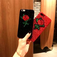 Wholesale Romantic Iphone Cases - Fashion Romantic Rose Phone case For Apple iphone 6 7plus Case Luxury Glitter Bling Bing Powder TPU Back Cover Shell
