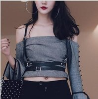 Wholesale Leather Strap Body Harness - Wholesale- 2017 Fashion Leather Women Sexy Harness Body Bondage Cage Shoulder Wraped Waist Straps Suclpting Belt Punk Harajuku Garters