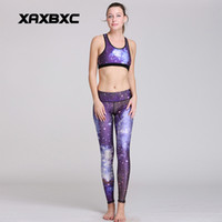 Wholesale White Sexy Leggings Tops - NEW HI-Q 8963 Sexy Girl leggins Galaxy Blue nebula Printed Two Piece Women Leggings Crop Top Vest Fitness Workout Suit Sets