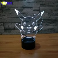Cute Cartoon 3D Lamp Hug Pikachu Night Lights LED Night Lamp com 7 cores Desk Lamp como crianças Birthday Holiday Xmas Gifts