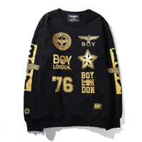 Wholesale Rap Street - Real Hot Hawk BOY LONDON Gold font Hip-Hop Dance RAP ROCK Street Fashion Cotton Hooded Sweatshirt With the Boy Lable 6 Colors