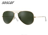 Wholesale Glasses Metal Style - Soscar Authentic Polarized Sunglasses Metal Frame UV400 Brand Designer Sunglasses Men Woman Gafas de sol Metal Hinge Pilot Style 55 58 62mm