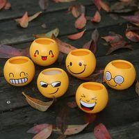 Wholesale expressions flowers for sale - Group buy Cartoon Expression Emoji Fleshy Flowerpot Manual Decals Ceramics Mini Garden Pot Multi Function Garden Decoration Hot Sale dh J