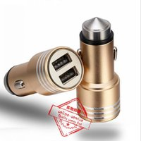Dual USB Ports Carregador de carro Aluminium Metal Safety Hammer 2 USB Cigarette Port Travel Charger Adapter 5V 1A para iPhone 6S 7 Samsung Galaxy S8