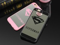 Wholesale Superman Iphone Silicone - Lover Cell Phone Mirror Case For iPhone 7 6 6s Plus 5 5s Superman Case Soft Silicone Frame Back Cover For iPhone 7 7 Plus Capa