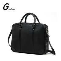 Wholesale Good Coupons - Wholesale- COUPON solid black leather briefcases man bags good quality High capacity handbags laptop computer Shoulder Strap Business Bags