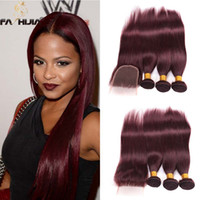 Wholesale Red Human Hair Lace Fronts - straight lace front human hair bundles with closure canbe curl dyed burgundy wine red brazilian virgin hair extension for african americans