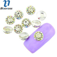 Wholesale Silver Studs For Nail Art - Wholesale- 10 Pcs Lot Silver Nail Art Crystal AB Rhinestones For Nails Flower Design Studs Charms Strass Manicure Suoolies TN1816