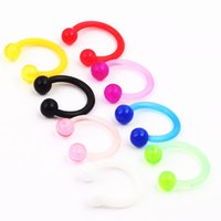 Wholesale Acrylic Cbr - Nose stud N23 50pcs lot mix 6 colors 16G acrylic body jewelry CBR ring eyebrow banana bar nose rings angle belly ring
