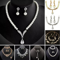 Discount rhinestone bridesmaids jewelry sets - Bridesmaid Jewelry Set for Wedding Crystal Rhinestone Tear Drop-Shaped Fashion Jewelry Pearl Necklace pendants Earring Party Jewelry Sets 5s