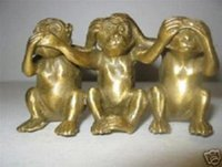 Colecionáveis ​​Brass See Speak Hear No Evil 3 Monkey Small Statues