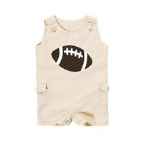Wholesale Wholesale Football Clothes - Baby Boy Clothes Sleeveless Cotton Baby Romper Newborn American Football Baby Boy Rompers Sport Cotton Boy Clothing with Pocket