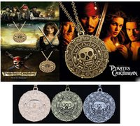 Wholesale Pirates Caribbean Jewelry - Pirates of the Caribbean Aztec Gold Coin Necklace Men Skull Sweater Skeleton Pendant Jewelry M724