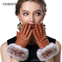 Wholesale ladies leather gloves - Wholesale- Hight Quality Guantes Mujer Rabbit Fur Mitts Screen Phones Gloves Women Full Finger Mittens Winter Ladies Velvet Warm Glove G037