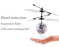 Wholesale induction control rc helicopter - Fly Toy RC Helicopter Toys Flying Induction LED Noctilucent Ball Quadcopter Drone Sensor Suspension Remote Control Aircraft Kids Gift
