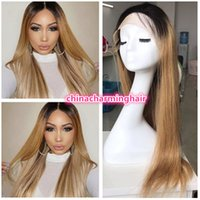 Wholesale Human Hair Soft Silky - Hot Sexy ombre 1b# 27# honey blonde Long Silky Straight Soft human hair full lace and Lace Front Wig Baby Hair